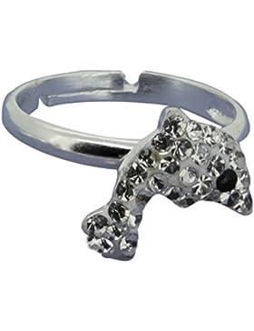 SL-Collection Ring Kinderring Delfin Kristall weiss Grösse einstellbar 925 Silber