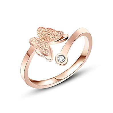 Buy Yellow Chimes Butterfly Charm Crystal Rose Gold Ring for Girls