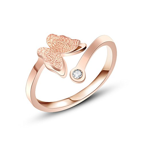 Yellow Chimes Butterfly Charm Crystal Rose Gold Ring for Girls and Women