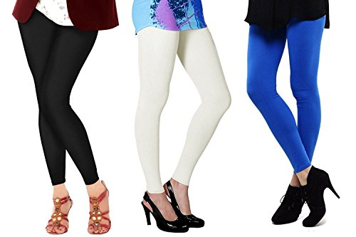 ROOLIUMS ® (Brand Factory Outlet) - Women\'s Cotton Lycra 160 GSM Ankle Length Leggings Combo Pack of 3 (Black, White, Blue) - Free Size