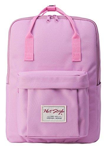 BESTIE Leicht Daypack Rucksack Reisetasche mit 15 zoll Laptopfach | 39x27x14cm | Federn, Grau D143B, Rosa