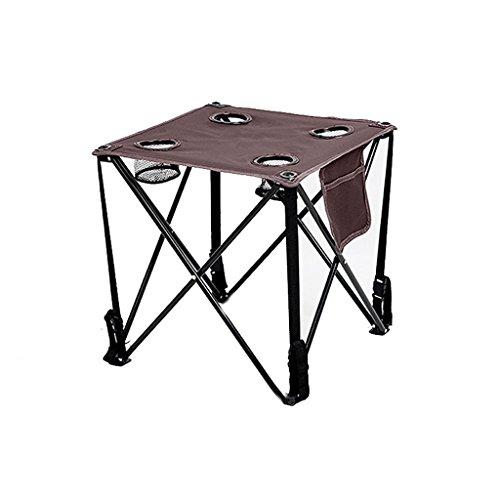 TangMengYun Outdoor Klapptisch Portable Canvas Tisch Freizeit Tisch Oxford Kleine Tabelle für Camping Self Drive Beach (Color : 4 cup holders, Größe : 48*48*42CM) (Freizeit-tabelle)