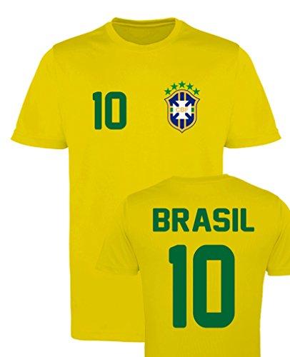 WM EM Trikot - Brasil 10 - Jungen T-Shirt - Gelb Gr. 122-128