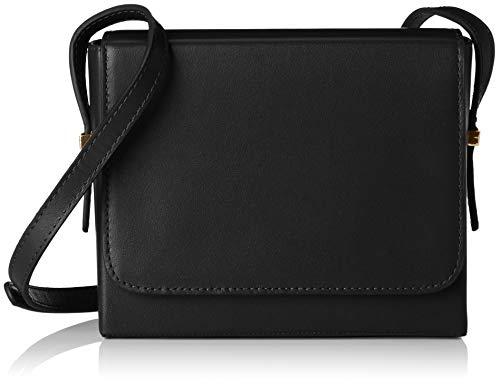 Leder Flap Shoulder Bag (Vagabond Damen Waterloo Schultertasche, Schwarz (Black), 5.7x13x15.5 cm)