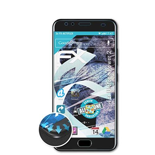 atFolix Schutzfolie passend für Ulefone Power 2 Folie, ultraklare & Flexible FX Bildschirmschutzfolie (3X)