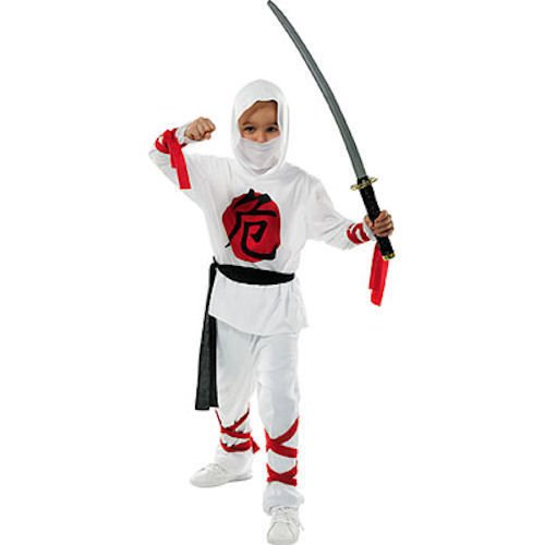 Kids Deluxe weiß Warrior Ninja Kostüm Jungen Halloween Kostüm Ninja Fancy Kleid, (Kostüme Ninja White)