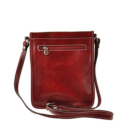 Pellevera Ravenne sac italienne messager de cuir. sac mortuaire croix (brun) rouge