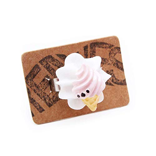 Eiswaffel Ring weiß silber - verstellbare Größe - Kitsch Waffeleis Eis Eistüte Sommer ()