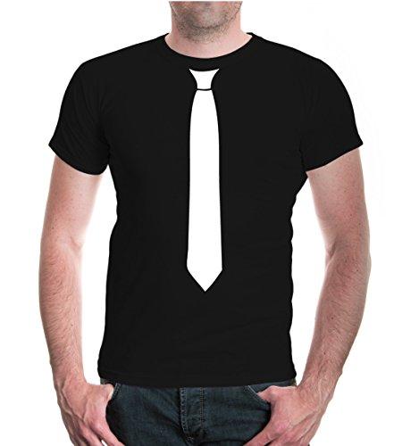 buXsbaum® Herren Unisex Kurzarm T-Shirt bedruckt Krawatte | Festliches Shirt Schlips Aufdruck | XXL black-white Schwarz (Fit Krawatte)