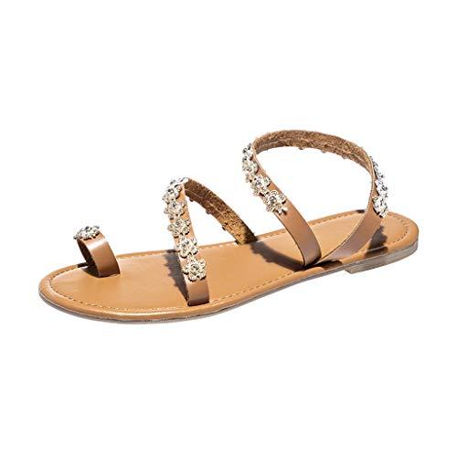 KIMODO® Sandalen Damen einfarbig Flache Kristallhefterzufuhren Plateau Strandschuhe Frauen Sommer Römische Schuhe -