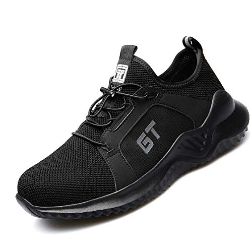 JIEFU Arbeitsschuhe Herren Damen mit Stahlkappe S3 Leicht Sportlich Sicherheitsschuhe Comfortable Atmungsaktiv Schutzschuhe Traillaufschuhe,Black,37EU