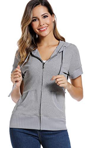 MISS MOLY Damen Kurzarm Kapuzenpullover Sweatjacke Hoodie Sweatshirt mit Reissverschluss Grau XX-Large
