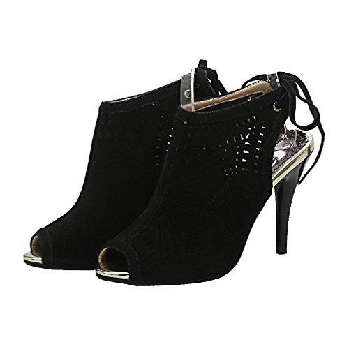 YE Damen Peep Toe Stiletto High Heel Slingback Sandalen mit 10cm Absatz und Schnürsenkel Party Schuhe Schwarz