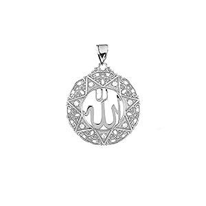 925 Sterling Silber Zirkonia Filigran Allah Damen Anhänger (1″)