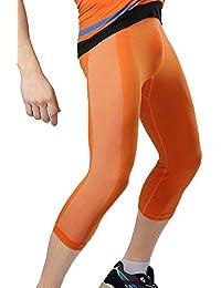 SaiDeng Hombres Color Mezclado Apretado Compresión Secado Rápido Fitness 3/4 Leggings Naranja L