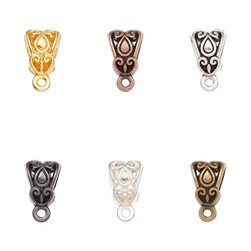 PandaHall 180pcs 6 Farben Tibetan Bail Perlen Charms Bail Tube Spacer Perlen mit Schleife Barrel Curved Fit Charm europäischen Armband Anhänger Halskette