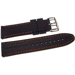 VK von Bura n01. com Silicone Watchband Watch Strap Black With Orange Stitching 22mm