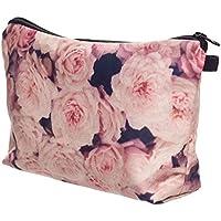 Purebesi Gran Capacidad Bolsa de cosméticos portátil ,Imprimiendo Rosa Rosa Make up Bag