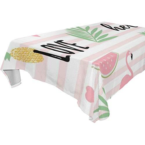 LISUMAL Längliche Tischdecke Tuch Home Decor für Küche,Esszimmer,Innenhof,Cafe,Party,Liebes-tropischer Flamingo-Wassermelonen-Ananas-Sommer-Frühlings-Baum-schöne gezeichnete exotische grafische Hölle
