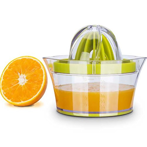 Exprimidor de cítricos con recipiente de almacenamiento, apriete manual de limón naranja, tapa antideslizante para rotar limas, capacidad de 35,5 ml