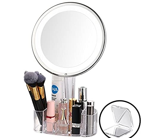 LED Lighted Makeup Mirror with Acrylic Makeup Organizer, Jerrybox 7X Magnification Adjustable Warm Light Bathroom Mirror, Free Pocket Mirror