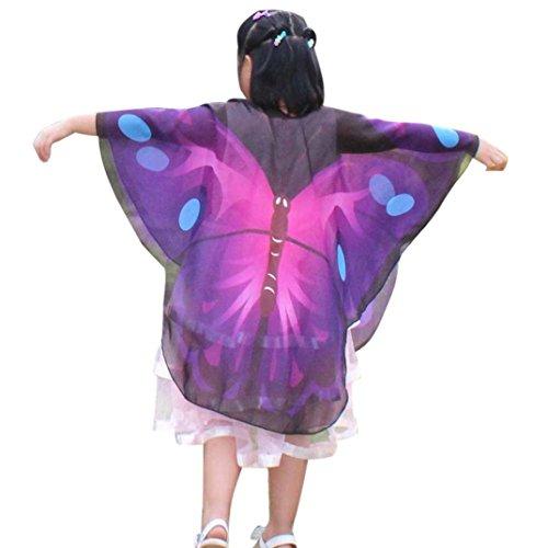 0cm Schmetterlings Flügel Schal Shobdw Kinder Jungen Mädchen Pixie Halloween Cosplay Fasching Kostüm Zusatz (140*100cm, Violett) (Dekorieren Sie Ihren Mantel Für Halloween)