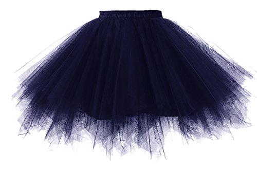 50er Vintage Petticoat Mehrfarbengroß Unterröcke Braut Crinoline Ballett Tutu Ball Underskirt Marineblau (Halloween-hippie-kostüm Selbstgemacht)