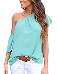 Zojuyozio Las Mujeres Verano Casual De Un Hombro Ruffle Sleeve Shirt Blusas Top Camiseta Cáñamo