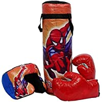 Minor New35 Spiderman Boxing Punching Bag KIT with 2 Gloves & 1 Head Guard for Kids