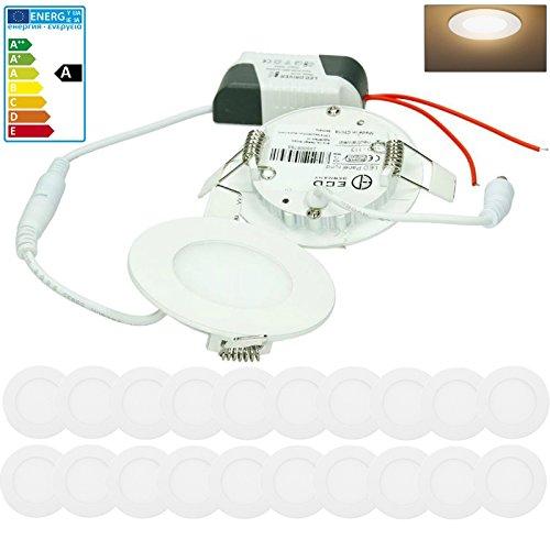 ECD Germany 20-er Pack LED Einbaustrahler 3W - Panel Deckenstrahler ultraslim - 220-240V - SMD 2835 - Ø8,5 cm - warmweiß 3000K - runder Einbauleuchten Spot für Flur, Bad oder Küche