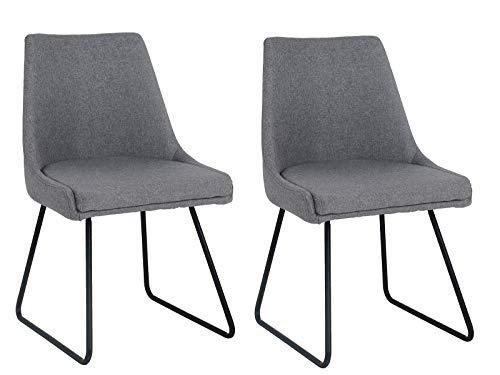 Meubletmoi Chaises Tissu Gris Confortable - Pieds métal Noir -Design Contemporain - Lot de 2 - AKO