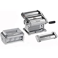 Marcato GS-PASTASET Manual Pasta Machine with Ravioli and Spaghetti Accessories Included, Chrome Steel, Silver