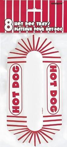 Unique Party - 90688 - Paquet de 8 Plateaux à Hot-Dog en Carton