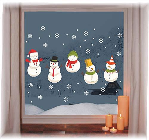 Natale vetrofanie display schneeflocken cinque pupazzi di neve rimovibile adesivi murali fai da te finestra decorazione vetrina wallpaper fiocco di neve