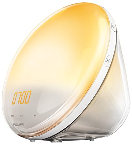 Philips Wake Up Light HF3531/01 - Despertador con luz, 7 sonidos naturales, simulador de amanecer y atardecer, cargador de movil