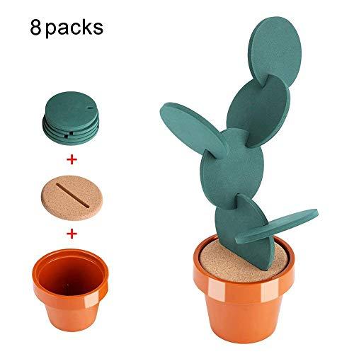 Set Untersetzer Vinyl moltifunzione Pad Isolierung in Tasse Tupfer Isolation Warm Tasse in Vase von Kaktus-Form Vase von Blumen 6Stück für Dekor Küche Lounge Tisch Bar