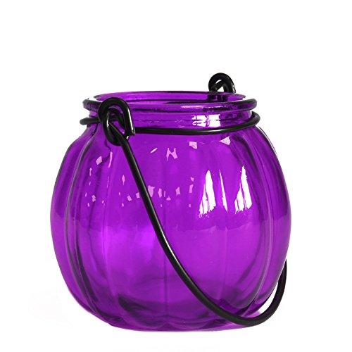 C. Art Windlicht in Kürbis-Form Petrol aus Recycling-Glas & Metall (Lavendel) - Lavendel Kürbis