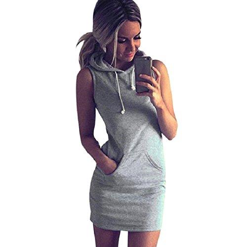 Honestyi ModeDamen Beiläufig ÄrmellosMit Kapuze Kleid Gemütlich Casualkleider Reizvoller Streetwear sweatshirts Kapuzenpullover T-shirt (S, Grau) (Detail T-shirt Kleid)