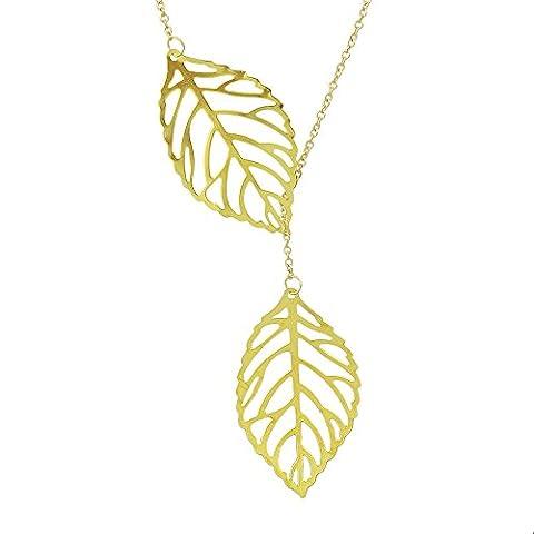 Or Argent ¨ ¹ berzogene Double feuilles de forme de longue H? ngende Collier avec pochette