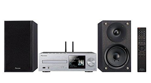 Pioneer X-Hm76(Sw) Micro HiFi Anlage, für CD, MP3 Wiedergabe (WLAN, Bluetooth, Streaming, Musik Apps, Spotify, Tidal, Deezer, Multiroom, Front USB/Audio In, 50 w/Kanal), Silber/Schwarz