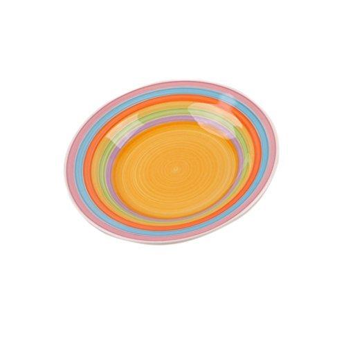 DRULINE Kombiservice Geschirrset Tafel-Service Porzellan Geschirr Set Tasse Teller BUNT Suppenteller 6er-Set (Gelb)