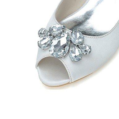 Best 4U® Da donna Scarpe Raso Primavera Estate Decolleté scarpe da sposa Kitten Punta aperta Con diamantini per Matrimonio Serata e festa Argento silver