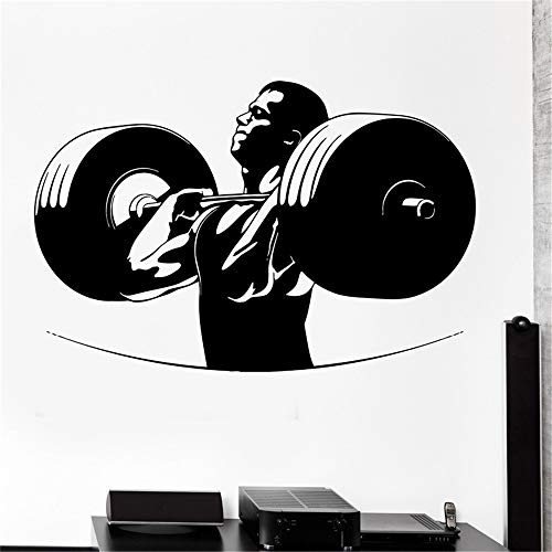 Muur Sticker Sport Powerlifting Bodybuilding Langhantel Crossfit Vinyl Aufkleber schwarz 45 x 70cm