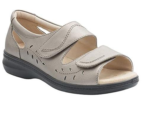 Padders Femmes Sandale en Cuir 'Wave' | Extra Grande Taille EE | Talon 35mm | Avec Chausse-Pied Gratuit