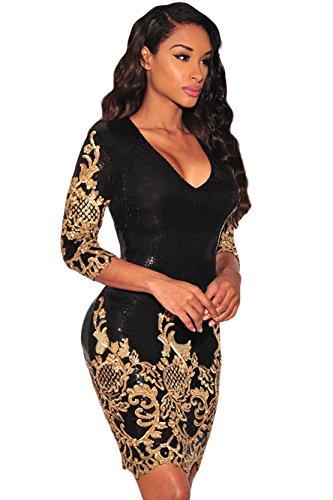 Schwarz Victorian Gold Paillette 3/4 Ärmeln Bodycon Mini kleid Damen mit reisverschluss (L, As shown) (Pailletten Kleid Schwarz)