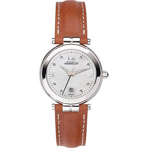 Michel Herbelin Unisex Erwachsene Analog Uhr mit Leder Armband 14264/AP59GO
