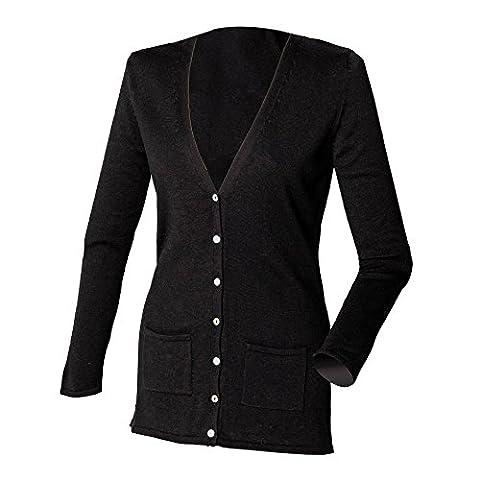 Henbury Ladies/Womens V-Neck Button Fine Knit Cardigan (S) (Black)