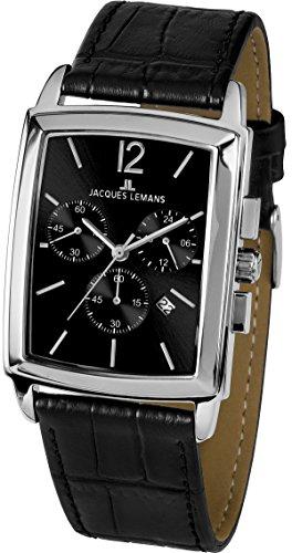 JACQUES LEMANS Herrenuhr Bienne Lederarmband massiv Edelstahl Chronograph 1-1906A