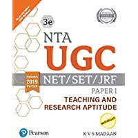 NTA  UGC - NET/SET/JRF Paper I - Teaching and Research Aptitude   Includes 2019 Paper   Third Edition   By Pearson