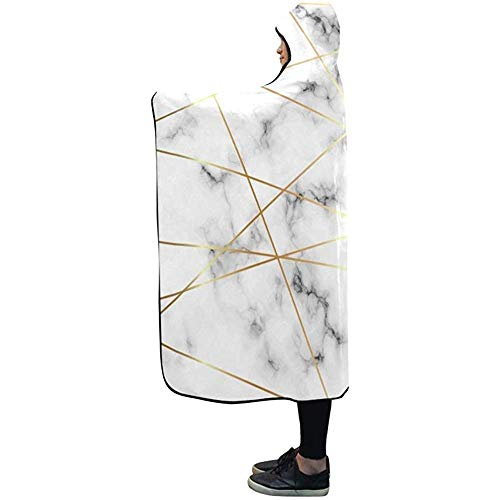 Henry Anthony Decke mit Kapuze White Marble Gold Lines Blanket 50 x 40 Zoll Comfotable Hooded Throw Wrap